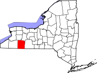 Map of New York highlighting Allegany County
