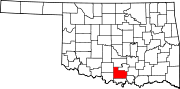 Map of Oklahoma highlighting Carter County.svg