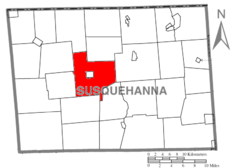 Map of Susquehanna County Pennsylvania highlighting Bridgewater Township.PNG