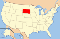 Map of the USA highlighting South Dakota