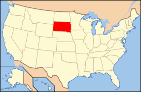 Map of the United States with داکوتای جنوبی highlighted