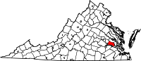 Map of Virginia highlighting Charles City County