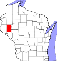 Map of Wisconsin highlighting Dunn County.svg