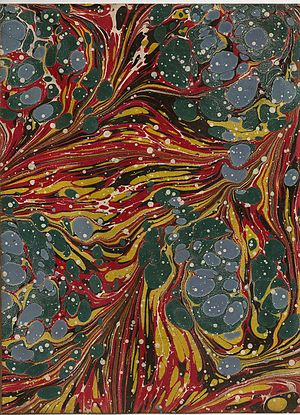 Paper marbling - Endpaper from a book published in Scotland in 1842. Encyclopædia Britannica, 7th edition