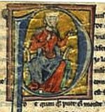 medieval illumination of sitting woman