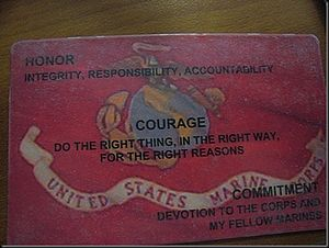 Culture of the United States Marine Corps - Card given to recruits bearing the Core values