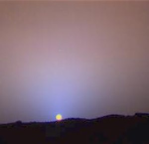 Astronomy on Mars - Close-up of Mars sky at sunset, showing more color variation, as imaged by Mars Pathfinder
