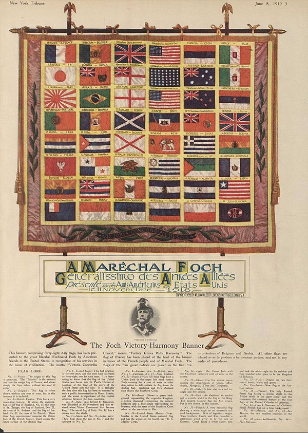 Marshal Foch's Victory-Harmony Banner Marshal Foch victory-harmony banner June 8 1919.jpg