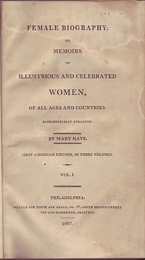 Mary Hays - Title page of Female Biography, or, Memoirs of Illustrious and Celebrated Women (first American edition, 1807)