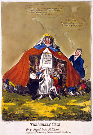 "Prince Frederick, Duke of York and Albany - ""The modern Circe or a sequel to the petticoat"", caricature of Frederick's lover, Mary Anne Clarke by Isaac Cruikshank, 15 March 1809. The prince resigned as head of the British army ten days after the caricature's publication."
