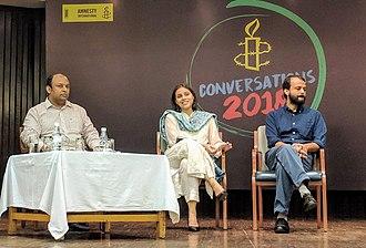 Marya Shakil - Marya Shakil (center) with Pratik Sinha (left) and Ashish Khetan (right) at an Amnesty event in New Delhi