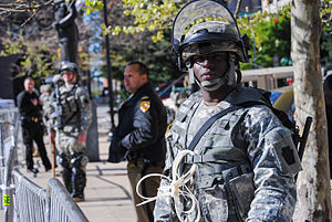 2015 Baltimore protests - A soldier from 1st Battalion, 175th Infantry Regiment keeps watch in front of Baltimore City Hall on April 28