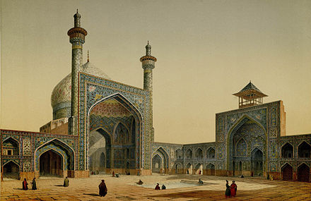 Painting by the French architect, Pascal Coste, visiting Persia in 1841 (from Monuments modernes de la Perse). In the Safavid era the Persian architecture flourished again and saw many new monuments, such as the Masjid-e Shah, part of Naghsh-i Jahan Square which is the biggest historic plaza in the world. Masjid Shah, view of the courtyard by Pascal Coste.jpg