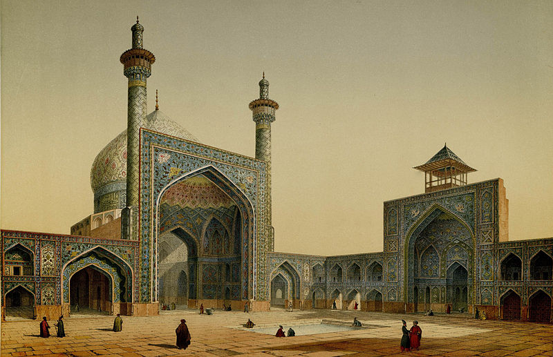 Masjid Shah, view of the courtyard by Pascal Coste.jpg