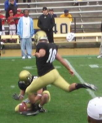 Mason Crosby - Crosby kicking a field goal in the 2006 Colorado spring game