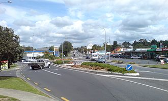 Massey, New Zealand - The roundabout Don Buck Road / Triangle Road in Massey North.