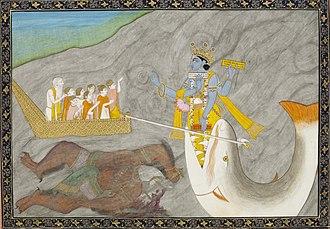 Shraddhadeva Manu - The Matsya avatar of Vishnu pulls Manu's boat after having defeated a demon.