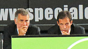Mauro Tassotti - Tassotti and Massimiliano Allegri during the game Milan–Real Madrid at the Yankee Stadium in New York