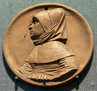 Hans Schwarz (sculptor) - Portrait of an unknown woman, medallion model made of wood, 1520