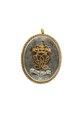 Medaljong med cendréfärgat hår över vilket är fäst krönt spegelmonogram av guld, U E - Livrustkammaren - 97852.tif