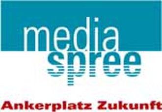 "Mediaspree - The original Mediaspree logo, with its slogan, ""Anchor-Site (of the) Future"""