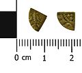 Medieval coin, cut farthing of probably Henry III (Obverse and reverse). (FindID 619205).jpg