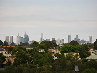 Brunswick East, Victoria - Houses in Brunswick east, looking towards Melbourne from Jones Park hill