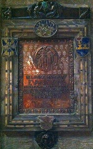 Evan Evans (academic) - Memorial to Evan Evans in Gloucester Cathedral
