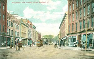 Rutland (city), Vermont - Merchants' Row in 1907