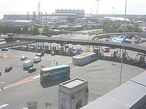Queensway Tunnel - Toll booths at the Birkenhead entrance to the Queensway Tunnel