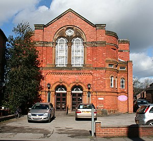 James Hall (historian) - Former Nantwich Wesleyan Methodist Chapel; the school opposite burned down in 1908