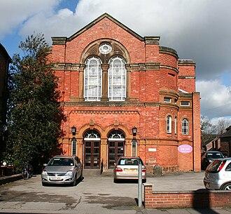 James Hall (historian) - Former Nantwich Wesleyan Methodist Chapel; the school opposite burned down in 1908