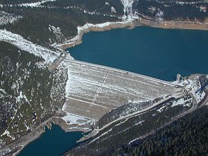 Embankment dam - The Mica Dam in Canada.