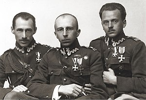 Adam Koc - Officers of the Polish Armed Forces. Left to right: Bogusław Miedziński, Adam Koc i Marian Zyndram-Kościałkowski