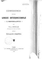 Paul Mieille: Conférence sur la Langue Internacionale « L'Espéranto »