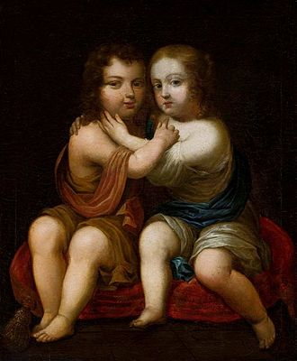 Milk kinship - Portrait of Louis XIV of France as a child with his milk-sister Henrietta of England by circle of Pierre Mignard, ca. 1646, National Museum in Warsaw.