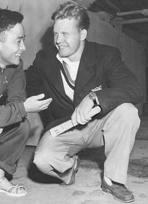 Miller Anderson (diver) - Anderson (right) with Sammy Lee in 1948