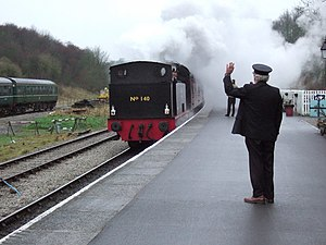 Bolton Abbey railway station - Mince Pie Special No.140 arriving at Bolton Abbey Station with a 'Mince Pie Special' on Boxing Day 2006.