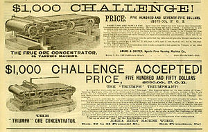 Competition (economics) - Adjacent advertisements in an 1885 newspaper for the makers of two competing ore concentrators (machines that separate out valuable ores from undesired minerals). The lower ad touts that their price is lower, and that their machine's quality and efficiency was demonstrated to be higher, both of which are general means of economic competition.