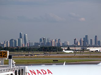 Higher-Density Development in Mississauga as seen from Toronto's Pearson Airport Mississauga skyline Pearson 2013.jpg
