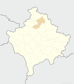 Location of the city of Mitrovica within Kosovo