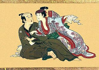 Jealousy - A Japanese painting from 1750 shows a young woman catching her lover reading a love letter from a rival.