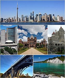 From top left: Downtown Toronto viewed from the Toronto Islands, City Hall, the Ontario Legislative Building, Casa Loma, Prince Edward Viaduct, and the Scarborough Bluffs
