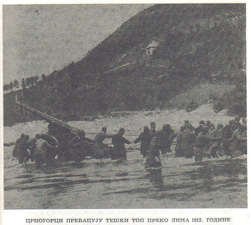 Montenegrin artillery crossing the Lim river during attack on Berane Montenegrin heavy cannon, 1912.jpg