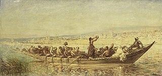 Moorse roeiers bij Constantinopel