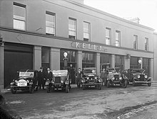 An of Morris cars on the forecourt of Mr J. Kelly's garage at Catherine Street, Waterford, Ireland, 1928