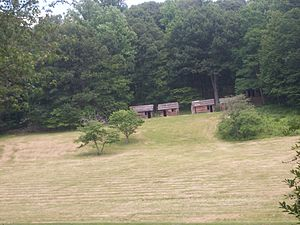 Morristown National Historical Park - Reconstructed troop cabins.