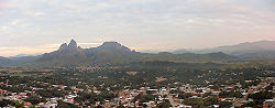 Panoramic view of San Juan and Monumento Natural Morros de San Juan