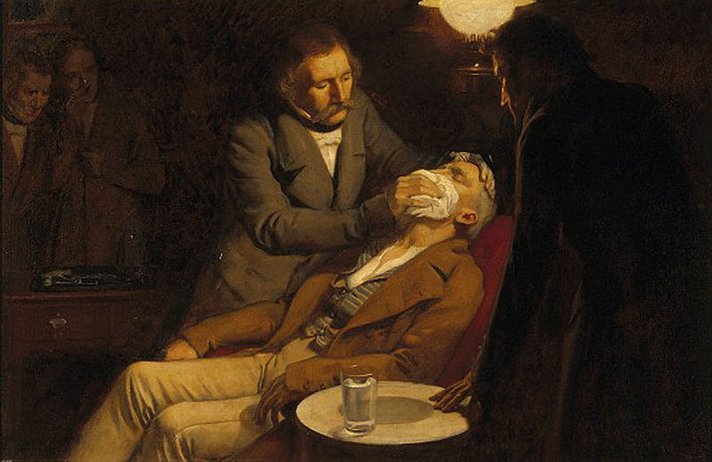 The first use of ether as an anaesthetic
