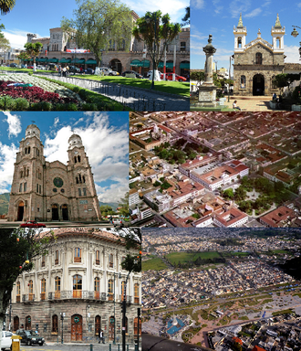 Ibarra, Ecuador - Collage of Ibarra, Top left:La Dolorosa Basilica, Top right:Governorate Paqlace in Pedro Moncayo Park (Parque del Pedro Moncayo), Middle left:View of Chalca Narvaez Avenue, Center:Teodoro Gomez Clock Tower, Middle right:Ibarra Obelisk, Bottom left:View of Capilla Episcopal in Gabriell Garcia Moreno Street, Bottom middle:Statue of San Miguel Ardangel, Bottom right:Santo Domingo Church and Victor Manuel Pencherrana area
